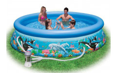 Надувной бассейн с надувным верхним кольцом 305х76см + фильтр-насос Intex 28126