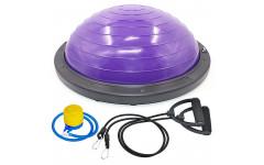 Полусфера BOSU гимнастическая, 58см., (фиолет) в комплекте с эспандером и насосом (B31658) BOSU044-17